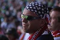 Azteca's Stadium is reflected in United States Men's National team fan Brian Kemp's  sunglasses before the game.  The United States Men's National Team played Mexico in a CONCACAF World Cup Qualifier match at Azteca Stadium in, Mexico City, Mexico on Wednesday, August 12, 2009.