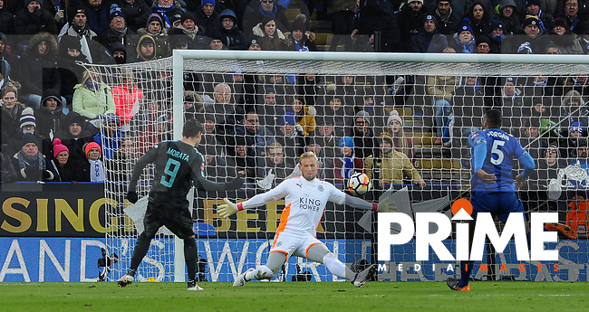 Goalkeeper Kasper Schmeichel of Leicester City fails to stop Alvaro Morata of Chelsea scoring a goal to give his side the lead during the FA Cup QF match between Leicester City and Chelsea at the King Power Stadium, Leicester, England on 18 March 2018. Photo by Stephen Buckley / PRiME Media Images.