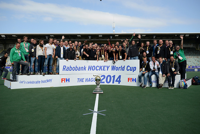 The Hague, Netherlands, June 15: The team of the broadcaster NOS Nederlandse Omroep Stichting pose after the prize giving ceremony on June 15, 2014 during the World Cup 2014 at Kyocera Stadium in The Hague, Netherlands. (Photo by Dirk Markgraf / www.265-images.com) *** Local caption ***