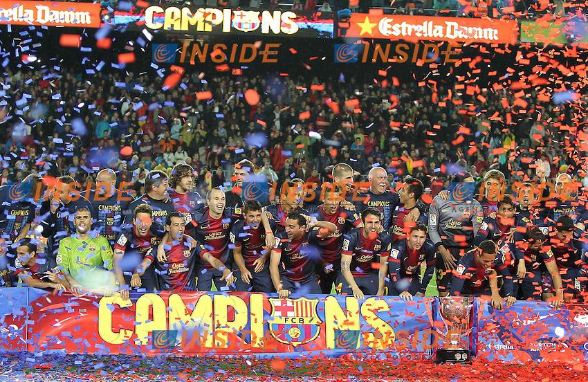 CELEBRATION TEAM - EQUIPE BARCELONE .Barcellona Campione di Spagna .Football Calcio 2012/2013.La Liga Spagna.Foto Panoramic / Insidefoto .ITALY ONLY