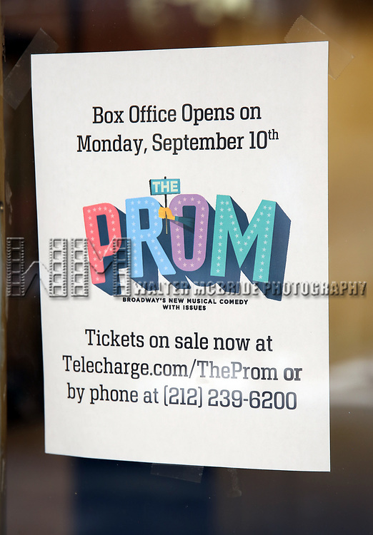 Theatre Marquee unveiling for 'The Prom'. The Broadway Musical is directed and choreographed by Casey Nicholaw,  book by Bob Martin and Tony Chad Beguelin, music by Matthew Sklar and lyrics by Chad Beguelin at the Longacre Theatre on August 24, 2018 in New York City.