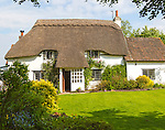 Pretty historic thatched cottage and garden, Cherhill, Wiltshire, England, UK