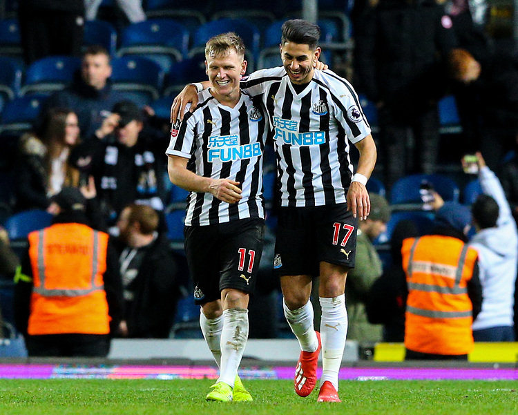 Newcastle United's Matt Ritchie celebrates with Ayoze Perez<br /> <br /> Photographer Alex Dodd/CameraSport<br /> <br /> Emirates FA Cup Third Round Replay - Blackburn Rovers v Newcastle United - Tuesday 15th January 2019 - Ewood Park - Blackburn<br />  <br /> World Copyright &copy; 2019 CameraSport. All rights reserved. 43 Linden Ave. Countesthorpe. Leicester. England. LE8 5PG - Tel: +44 (0) 116 277 4147 - admin@camerasport.com - www.camerasport.com