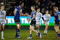 Ruaridh McConnochie of Bath Rugby celebrates his first half try with team-mate Luke Charteris. Premiership Rugby Cup match, between Bath Rugby and Gloucester Rugby on February 3, 2019 at the Recreation Ground in Bath, England. Photo by: Patrick Khachfe / Onside Images