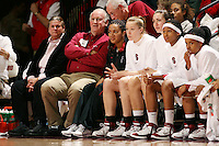 28 December 2006: Stanford Cardinal professor Bill Durham, Rosalyn Gold-Onwude, Christy Titchenal, Morgan Clyburn, Melanie Murphy, and Markisha Coleman during Stanford's 86-58 win against the Arizona Wildcats at Maples Pavilion in Stanford, CA.