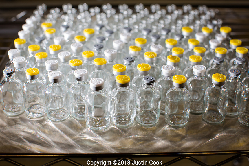 Empty insulin bottles at the Johnston County Workforce Development Center. The Johnston County Community College is preparing students for work at the Novo Nordisk plant in Clayton, NC Friday, April 27, 2018. (Justin Cook for STAT News)
