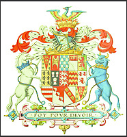 BNPS.co.uk (01202 558833)<br /> Pic: GrahamBathe/BNPS<br /> <br /> The Seymour's elaborate coat of arms with the motto in French  'Faith For Duty'<br /> <br /> Historic Wolf Hall, home to the Seymour family and star of Hilary Mantel's famous trilogy on Henry VIII th, has finally been definitively located after new discoveries around the much smaller ramshackle house that remains today. <br /> <br /> Despite it's fame, nobody really knew where the enormous Tudor pile actually was, or what it looked like, due to its very short but very influential existance in the middle of the tumultuous 16th century.<br /> <br /> Built with a million pound loan (&pound;2,400) from King Henry in 1531, brokered by Thomas Cromwell, the huge house was rapidly brick built in time for the King's pivotal visit with the court and troublesome wife Anne Boleyn in 1535, at which point Sir John Seymour's daughter Jane caught his eye, within a year Anne was dead and Jane, and the rest of the Seymour clan were in.<br /> <br /> They benefitted massively from Royal patronage and the dissolution of the monastries, but it all went wrong when Henry died and the brothers fell out and were later executed in a spectacular fall from power only 21 years after the house was built.<br /> <br /> Historian Graham Bathe and his team have now uncovered part of the outline of the original building, as well as the extensive Tudor brick sewer system that proves the huge scale of the 16th century mansion.