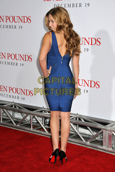 "VAIL BLOOM.""Seven Pounds"" Los Angeles Premiere at Mann's Village Theatre, Westwood, California, USA..December 16th, 2008.full length blue dress back behind rear hand on hip christian louboutin shoes Herve Leger bandage body con.CAP/ADM/BP.©Byron Purvis/AdMedia/Capital Pictures."