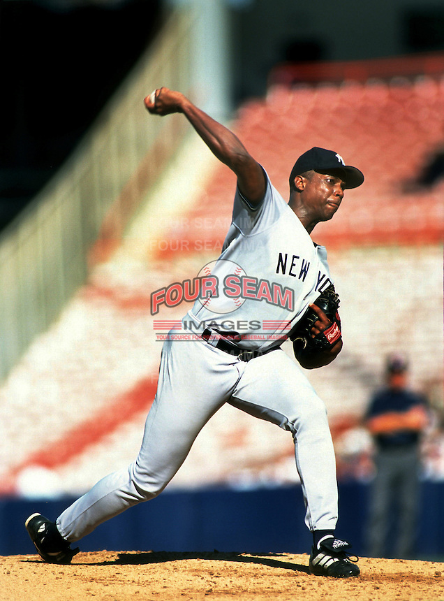 Dwight Gooden of the New York Yankees during a game at Anaheim Stadium in Anaheim, California during the 1997 season.(Larry Goren/Four Seam Images)