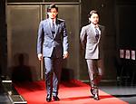"December 5 2017, Tokyo, Japan - Japanese actors Takayuki Yamada (R) and Shun Oguri attend a promotinal event of Japanese electronics giant Fujitsu's smartphone ""arrows NX F-01K"" in Tokyo, on Tuesday, December 5, 2017.      (Photo by Yoshio Tsunoda/AFLO) LWX -ytd-"