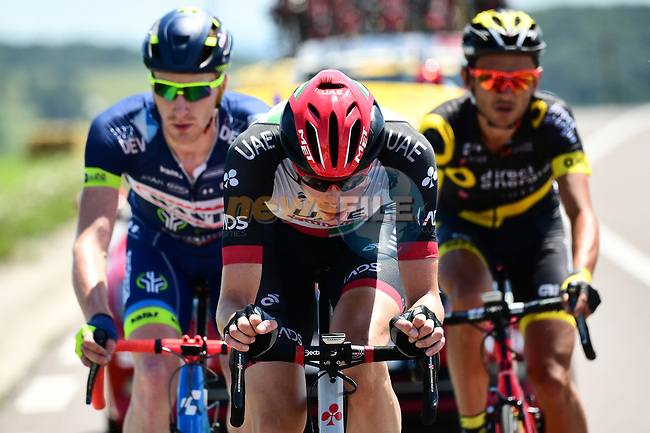 The breakaway group Vegard Stake Laengen (NOR) UAE Team Emirates, Frederik Backaert (BEL) Wanty-Groupe Gobert and Perrig Quemeneur (FRA) Direct Energie in action during Stage 6 of the 104th edition of the Tour de France 2017, running 216km from Vesoul to Troyes, France. 6th July 2017.<br /> Picture: ASO/Alex Broadway | Cyclefile<br /> <br /> <br /> All photos usage must carry mandatory copyright credit (&copy; Cyclefile | ASO/Alex Broadway)