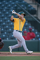 AZL Athletics center fielder Chase Calabuig (28) follows through on his swing during an Arizona League game against the AZL Angels at Tempe Diablo Stadium on June 26, 2018 in Tempe, Arizona. The AZL Athletics defeated the AZL Angels 7-1. (Zachary Lucy/Four Seam Images)