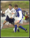 26/10/02       Collect Pic : James Stewart                     .File Name : stewart-qots v ross county 14.PETER LYNCH IS CHALLENGED BY BRIAN MCCOLLIGAN..........James Stewart Photo Agency, 19 Carronlea Drive, Falkirk. FK2 8DN      Vat Reg No. 607 6932 25.Office : +44 (0)1324 570906     .Mobile : + 44 (0)7721 416997.Fax     :  +44 (0)1324 570906.E-mail : jim@jspa.co.uk.If you require further information then contact Jim Stewart on any of the numbers above.........