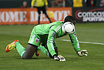10 March 2012: DC's Bill Hamid mishandles the ball. Sporting Kansas City defeated DC United 1-0 at RFK Stadium in Washington, DC in a 2012 regular season Major League Soccer game.