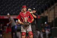 AZL Angels catcher David Clawson (7) reacts to home plate umpire Hector Cuellar's ruling after a close play at the plate during an Arizona League game against the AZL Padres 2 at Tempe Diablo Stadium on July 18, 2018 in Tempe, Arizona. The AZL Padres 2 defeated the AZL Angels 8-1. (Zachary Lucy/Four Seam Images)