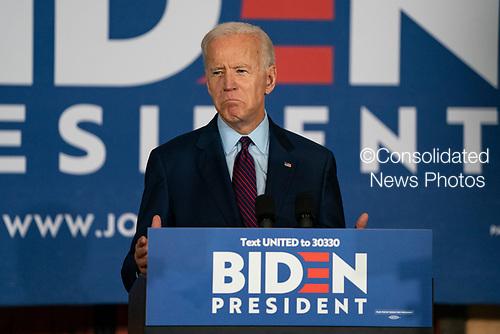 2020 Democratic Presidential candidate, Joe Biden, speaks at a campaign event in Burlington, Iowa on Wednesday, August 7, 2019. Biden is kicking off a 4 day tour of Iowa. Credit: Alex Edelman / CNP
