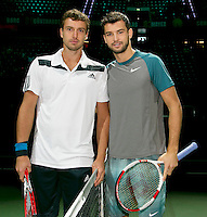 13-02-14, Netherlands,Rotterdam,Ahoy, ABNAMROWTT, Ernests Gulbis(LET) and Grigor Dimitrov(BUL)<br /> Photo:Tennisimages/Henk Koster