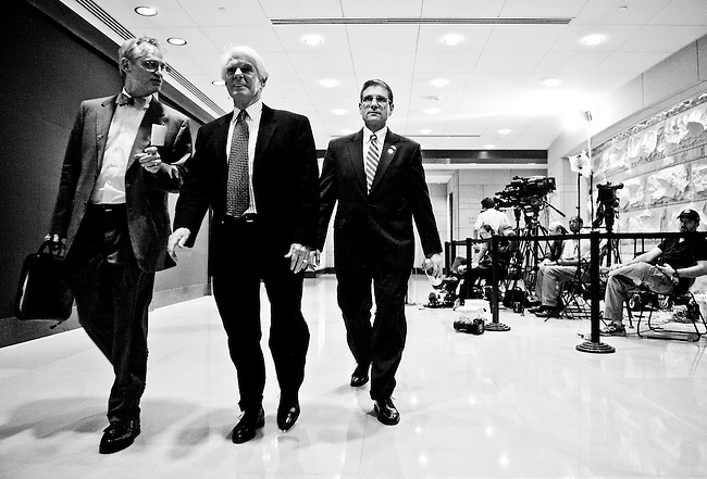 From left, Rep. Earl Blumenauer, D-Ore., Rep. Jerry Lewis, R-Calif., and Rep. Joe Heck, R-Nev., arrive for the bipartisan briefing from CIA Director Leon Panetta on the death of Osama bin Laden on May 3, 2011, in the Congressional Auditorium. (Photo By Bill Clark/Roll Call)