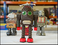 BNPS.co.uk (01202 558833)<br /> Pic: PhilYeomans/BNPS<br /> <br /> The early robots were more comical than terrifying.<br /> <br /> Take me to your leader - out of this world collection of rudimentary robots from the earliest days of sci-fi.<br /> <br /> The huge collection of over 500 classic sci-fi toys dates back to the 1950's and 60's and could now be worth a whopping &pound;30,000.<br /> <br /> The huge collection was started by a robot mad schoolboy in the 1950's as the Russian Sputnik satellite kick started the race for space and sparked huge interest in science fiction.<br /> <br /> The oldest items date from the late 1950's with models continuing all the way through to the 1990s with several classic favourites included.<br /> <br /> There are a number of lots related to TV classic Thunderbirds and a model of Robbie the Robot, who featured in the TV series Lost in Space and the film Forbidden Planet remains in terrific condition.