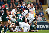 Tom Dunn of Bath Rugby is upended in a tackle. Aviva Premiership match, between Leicester Tigers and Bath Rugby on September 3, 2017 at Welford Road in Leicester, England. Photo by: Patrick Khachfe / Onside Images