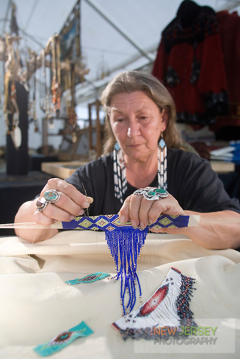 Nanticoke Lenni-Lenapi Native American Artist, making traditional beadwork, New Jersey