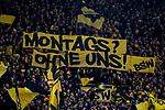 10.02.2018, Signal Iduna Park, Dortmund, GER, 1.FBL, Borussia Dortmund vs Hamburger SV, <br /> <br /> im Bild | picture shows:<br /> Fans der S&uuml;dtrib&uuml;ne skandieren mit Plakaten gegen die Montagsspiele, <br /> <br /> <br /> Foto &copy; nordphoto / Rauch
