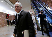 United States Senator Bob Corker (Republican of Tennessee) walks through the lobby of Trump Tower on November 29, 2016 in New York City.   <br /> Credit: John Angelillo / Pool via CNP