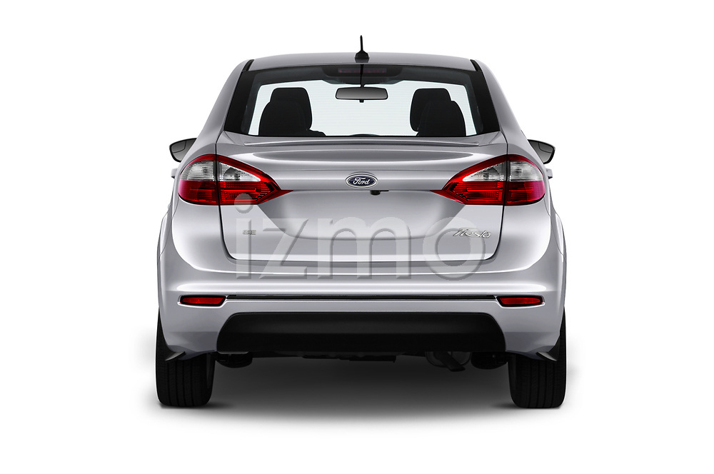 Straight rear view of 2019 Ford Fiesta SE 4 Door Sedan Rear View  stock images
