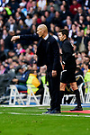 Zinedine Zidane coach of Real Madrid during La Liga match between Real Madrid and Atletico de Madrid at Santiago Bernabeu Stadium in Madrid, Spain. February 01, 2020. (ALTERPHOTOS/A. Perez Meca)