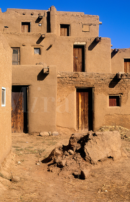 Taos Pueblo circa 1000 and 1450 a.d.. Taso Pueblo is considered to be the oldest continudusly inhabited community in the USA