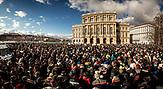 Demonstration gegen die finanzielle Sanktionierung wissenschaftliche Einrichtungen in Ungarn. Demonstration against the financial sanctioning of  scientific institutions in Hungary.