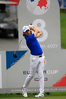 Tommy Fleetwood (Europe) on the 8th tee during the Friday Foursomes of the Eurasia Cup at Glenmarie Golf and Country Club on the 12th January 2018.<br /> Picture:  Thos Caffrey / www.golffile.ie