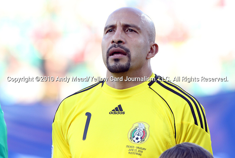 22 JUN 2010: Oscar Perez (MEX). The Mexico National Team lost 1-2 to the Uruguay National Team at Royal Bafokeng Stadium in Rustenburg, South Africa in a 2010 FIFA World Cup Group A match.