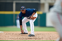 Lakeland Flying Tigers relief pitcher Gerson Moreno (36) looks in for the sign during a game against the St. Lucie Mets on June 11, 2017 at Joker Marchant Stadium in Lakeland, Florida.  Lakeland defeated St. Lucie 1-0.  (Mike Janes/Four Seam Images)