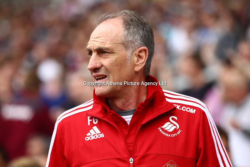 Francesco Guidolin manager of Swansea   during the Barclays Premier League match between West Ham United and Swansea City  played at Boleyn Ground , London on 7th May 2016