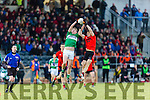 Gavan O'Grady Glenbeigh/Glencar and Sean Kelleher Gabrel Rangers compete for the kick out during the Munster Junior cup final in Mallow on Sunday