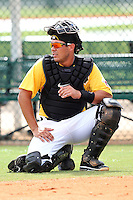 Pittsburgh Pirates catcher Tony Sanchez #26 during practice before an Instructional League game against the Philadelphia Phillies at Pirate City on October 11, 2011 in Bradenton, Florida.  (Mike Janes/Four Seam Images)