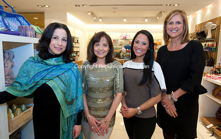 SOUTHBURY, CT-030714JS06--Natalie Lawlor, Mary LaBarbera; Teresa Dufour and Kristin Jacoby at the annual SPA-tacular Night Out at Adam Broderick Salon &amp; Spa in Southbury. The event is to benefit the 1024 Palace Theater annual Campaign. <br /> Jim Shannon Republican-American