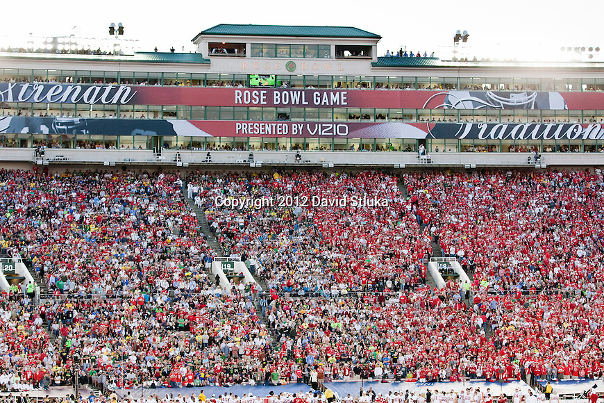 A general view of the Rose Bowl Press Box during the Wisconsin Badgers 2012 Rose Bowl NCAA football game against the Oregon Ducks in Pasadena, California on January 2, 2012. The Ducks won 45-38. (Photo by David Stluka)