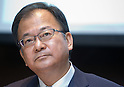 August 2, 2012 - Tokyo, Japan - Sharp Corporation President, Takashi Okuda, reports the company's quarterly loss during a press conference in downtown Tokyo. The company reported an operating loss of 94.1 billion yen ($1.20 billion USD) compared with 3.5 billion yen profit in the previous year. As Sharp continues to struggle with its television business, the company will cut 5,000 jobs in Japan and overseas by March of 2013 in an effort to stabilize the business. (Photo by Christopher Jue/AFLO)
