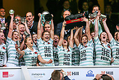 7th December 2017, Twickenham Stadium, London, England; The Womens Varsity Rugby Match, Cambridge versus Oxford;  Cambridge Women wining captain Lara Gibson is lifted aloft during the cup presentation