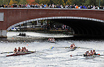 (Cambridge Ma 101913)  Spectators look on from the Elliot Bridge during the women Collegiate Four race coming into the final stretch,  the 2013 Head of the Charles Regatta, Saturday on the Charles River in Cambridge. (Jim Michaud Photo) For Sunday