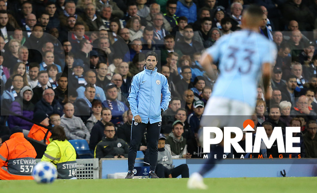 Man City assistant manager Mikel Arteta looks on during the UEFA Champions League match between Manchester City and Olympique Lyonnais at the Etihad Stadium, Manchester, England on 19 September 2018. Photo by David Horn / PRiME Media Images.