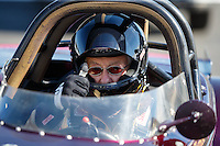 Feb 12, 2016; Pomona, CA, USA; NHRA comp eliminator driver Ed Sigmon during qualifying for the Winternationals at Auto Club Raceway at Pomona. Mandatory Credit: Mark J. Rebilas-USA TODAY Sports