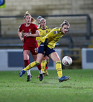 13th February 2020; Deva Stadium, Chester, Cheshire, England; Womens Super League Football, Liverpool Womens versus Arsenal Womens;  Vivianne Miedema of Arsenal Women crosses the ball as Rachel Furness  of Liverpool closes in