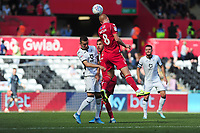 Bersant Celina of Swansea City vies for possession with Ben Watson of Nottingham Forest during the Sky Bet Championship match between Swansea City and Nottingham Forest at the Liberty Stadium in Swansea, Wales, UK. Saturday 14 September 2019