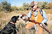 A hunter holds a rooster shot during a hunt near Big Sandy, Montana.