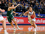 SIOUX FALLS, SD - NOVEMBER 29: Lindsey Theuninck #3 from South Dakota State looks to drive past Hailey Oskey #0 from Wisconsin Green Bay during their game Thursday night at Frost Arena in Brookings. (Photo by Dave Eggen/Inertia)