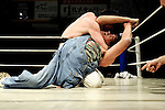 Wrestlers in battle during Doglegs, an event for wrestlers with physical and mental handicaps in Tokyo, Japan.