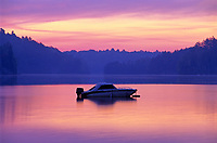 Boat at dawn on Raven Lake<br />